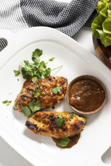 pollo con mango y chile oriental